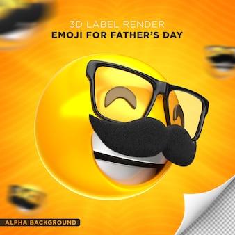 Projeto de renderização 3d do rótulo do pai emoji dia dos pais