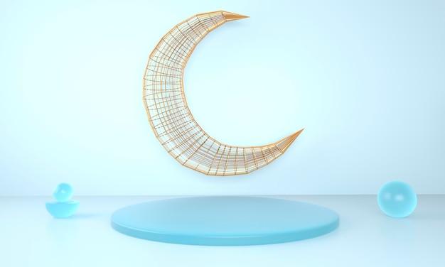 Projeto de saudação ramadan kareem com lua