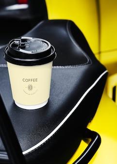 Projeto descartável do mockup do copo de papel do café