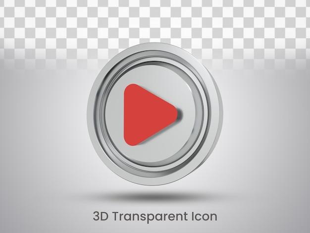 Projeto do ícone do botão de reprodução renderizado em 3d