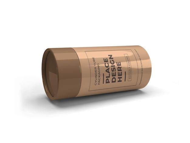 Projeto do modelo da embalagem do tubo do cilindro isolado