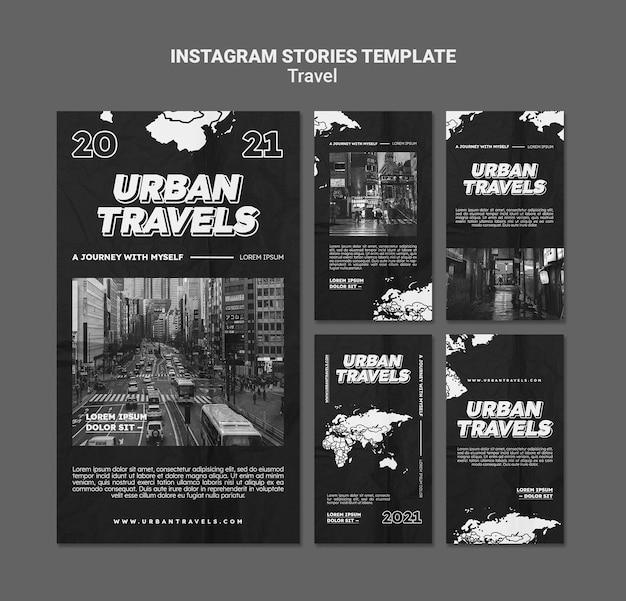 Projeto do modelo da história do instagram para viagens urbanas