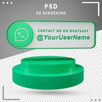 Projeto do whatsapp de ícone de maquete de mídia social 3d