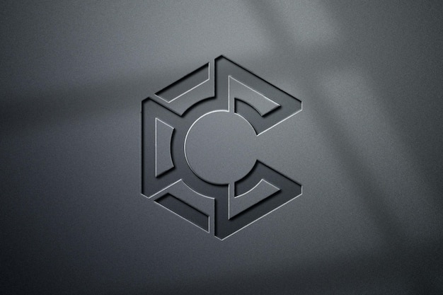 Projeto luxuoso da maquete do logotipo 3d com sombra
