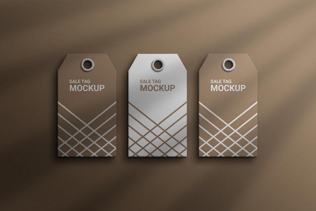 Projeto mackup de tag de venda de preço de maquete marrom