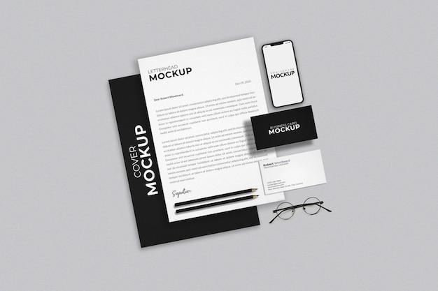 Projeto moderno de maquete de papelaria empresarial