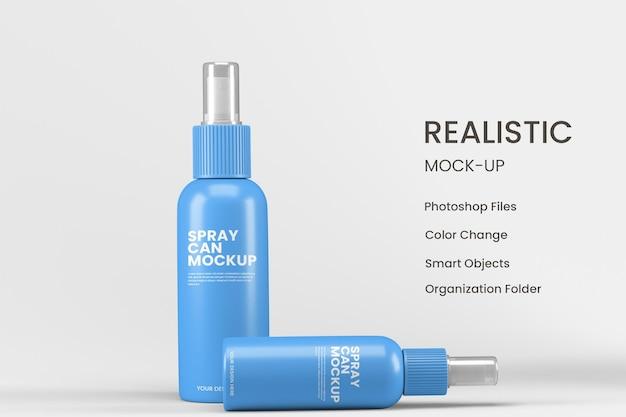 Projeto realista da maquete do frasco spray isolado