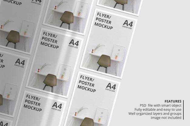 Projeto realista de maquete de folheto ou papel com sombra sobreposta