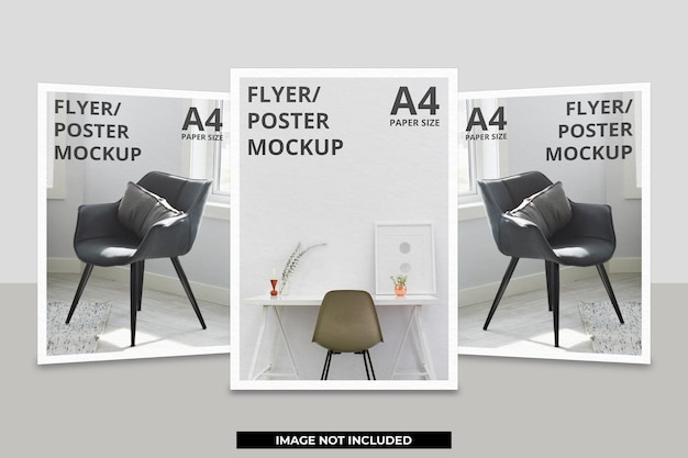 Projeto realista de maquete de folheto ou papel