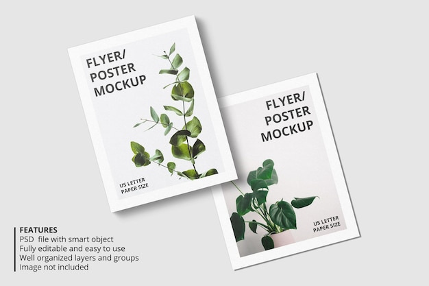 Projeto realista de maquete de papel ou flyer