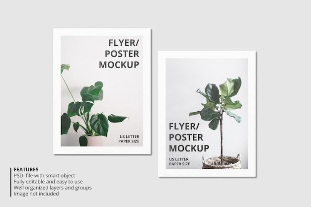 Projeto realista de maquete de papel ou flyer Psd Premium