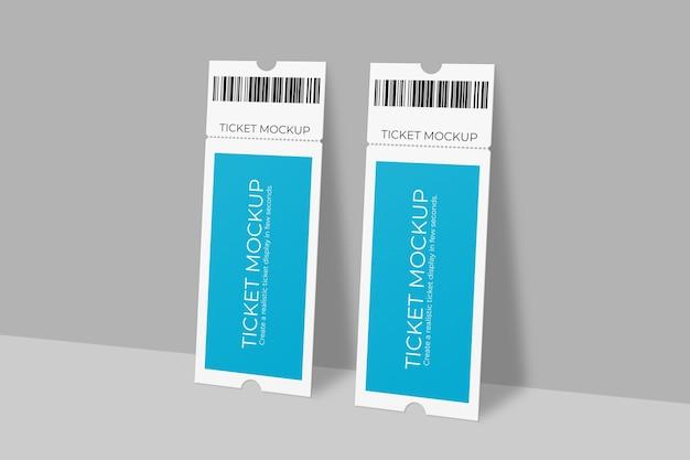 Projeto realista de voucher ou maquete de ingresso de evento