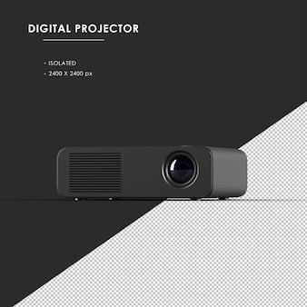 Projetor digital preto isolado da vista superior do ângulo direito