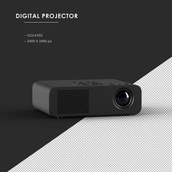 Projetor digital preto isolado da vista superior frontal do ângulo esquerdo