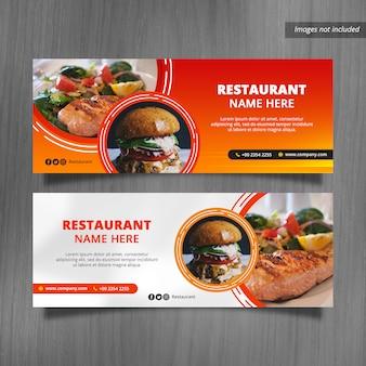 Projetos da bandeira da tampa do facebook do restaurante