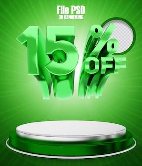 Promoção 15 em banner verde com renderização em 3d