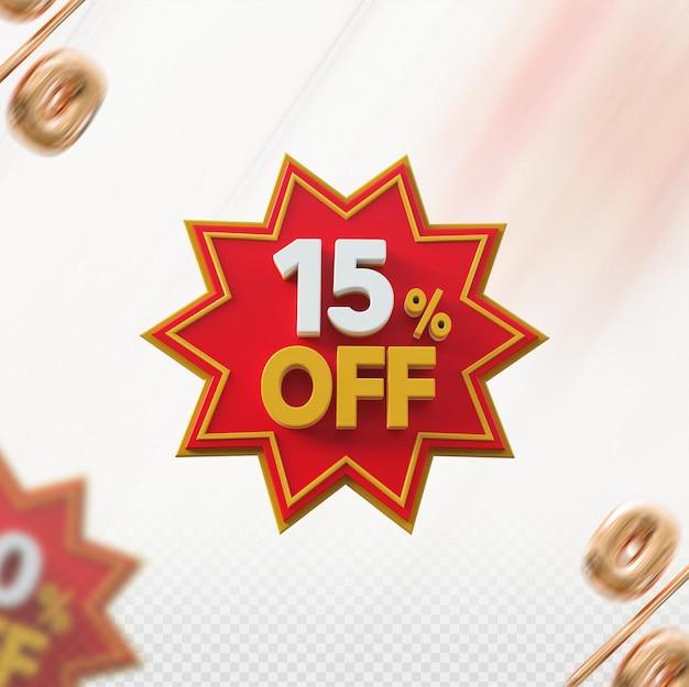 Promoção 3d com 15% de desconto no vermelho