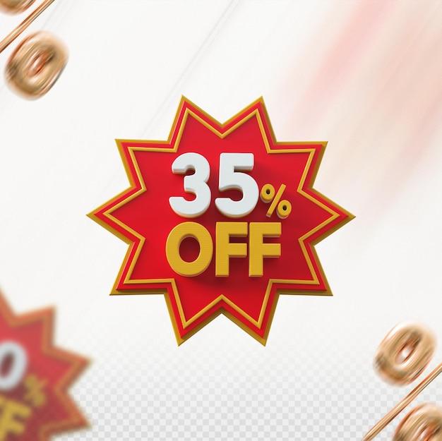 Promoção 3d com 35% de desconto no vermelho
