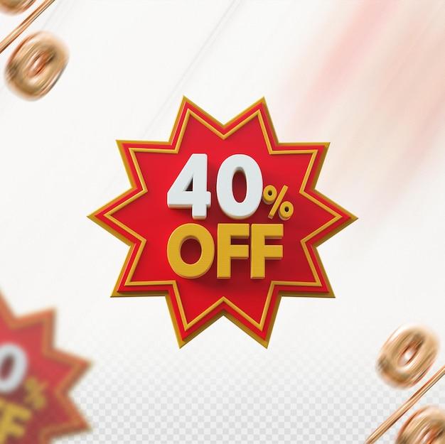 Promoção 3d com 40% de desconto no vermelho