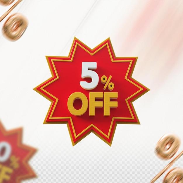 Promoção 3d com 5% de desconto no vermelho Psd Premium