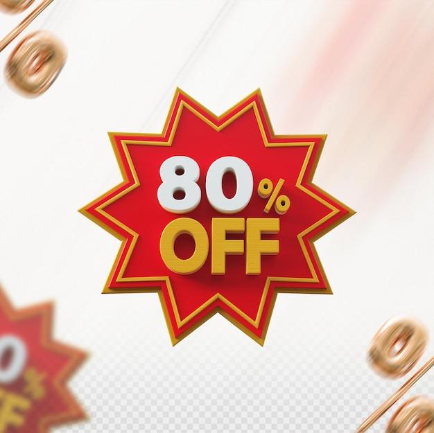 Promoção 3d com 80% de desconto no vermelho