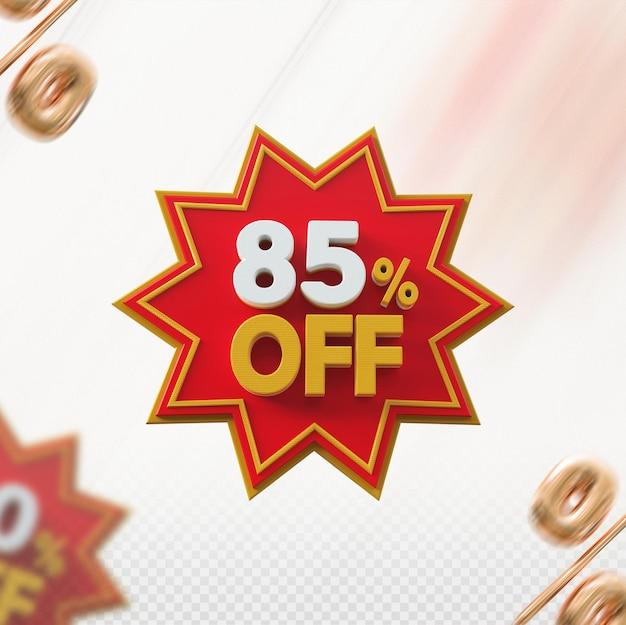 Promoção 3d com 85% de desconto no vermelho