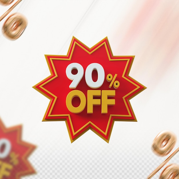 Promoção 3d com 90% de desconto no vermelho