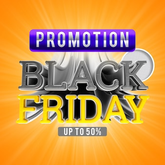 Promoção da black friday de até 50 banners de renderização 3d