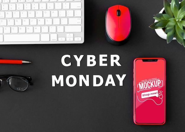 Promoção da cyber monday com plano de fundo e modelo de telefone