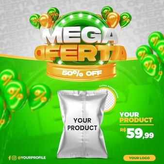 Promoção da mega oferta verde com 50% de desconto no modelo de postagem nas redes sociais