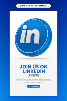 Promoção da página de negócios com 3d render ícone do linkedin para instagram e modelo de história de mídia social