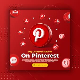 Promoção da página de negócios com 3d render pinterest para modelo de postagem do instagram
