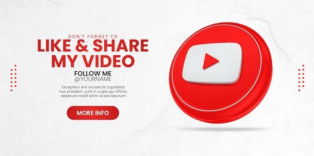 Promoção da página de negócios com ícone do youtube 3d render para modelo de banner de mídia social
