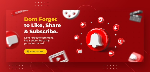Promoção da página de negócios com notificação do youtube em 3d render para modelo de capa do facebook