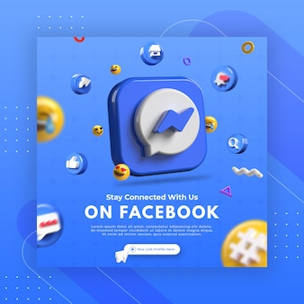 Promoção da página de negócios com renderização em 3d do facebook messenger para modelo de postagem do instagram