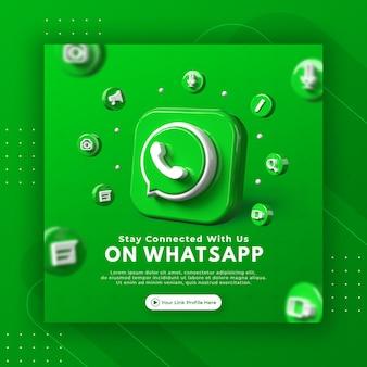 Promoção da página de negócios com renderização em 3d do modelo de postagem do whatsapp para instagram