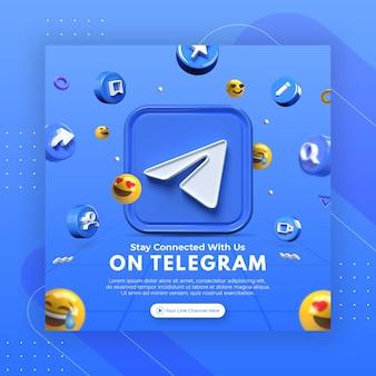 Promoção da página de negócios com telegrama de renderização em 3d para modelo de postagem do instagram