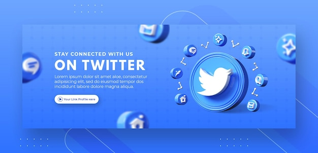 Promoção da página de negócios com twitter render 3d para modelo de capa do facebook