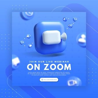 Promoção da página do webinar com logotipo de zoom de renderização 3d para modelo de postagem do instagram