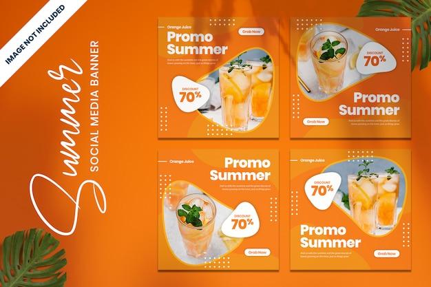 Promoção de bebidas de verão banner de mídia social vol2