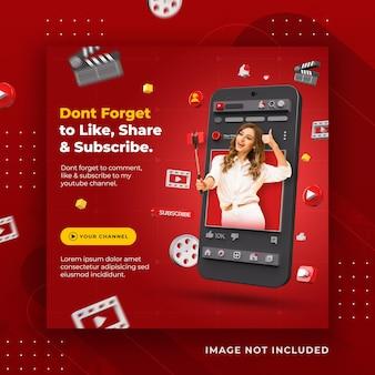 Promoção de canal do youtube de conceito criativo de mídia social para modelo de postagem do instagram