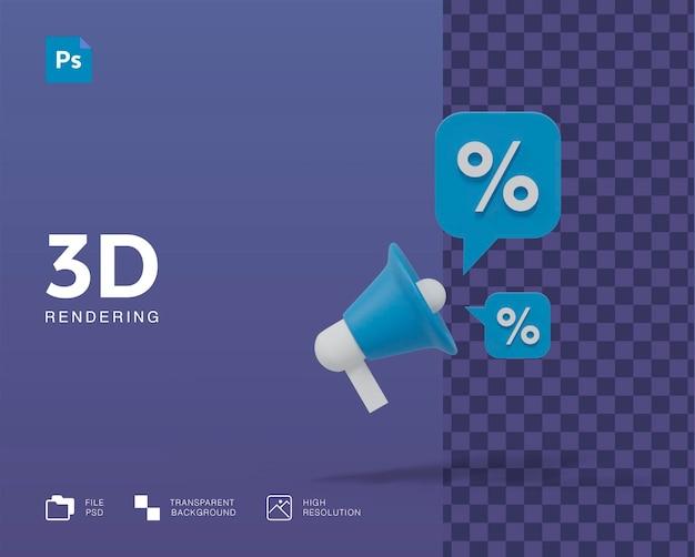 Promoção de desconto de ilustração 3d