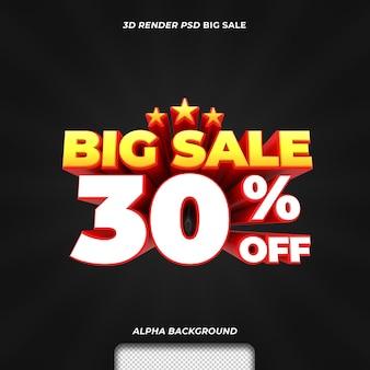 Promoção de desconto em grande venda de texto renderizado em 3d com 30%