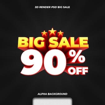 Promoção de desconto em grande venda de texto renderizado em 3d com 90 por cento