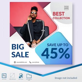 Promoção de grande venda mídia social postar modelo de banner