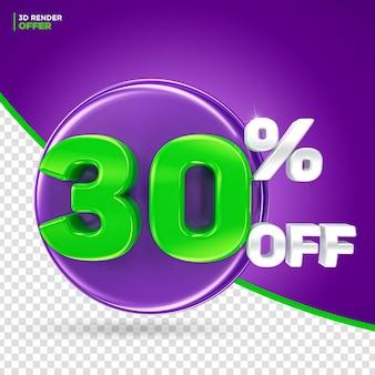 Promoção de halloween oferece 30% de desconto na renderização 3d do rótulo para composição