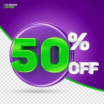 Promoção de halloween oferece 50% de desconto na renderização 3d do rótulo para composição