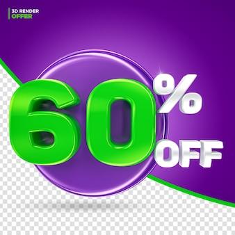 Promoção de halloween oferece 60% de desconto na renderização em 3d do rótulo para composição