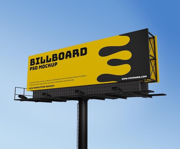 Promoção de maquete lateral de renderização 3d de publicidade em outdoor