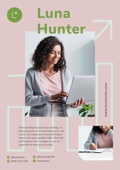 Promoção de marketing com design de mulher de negócios